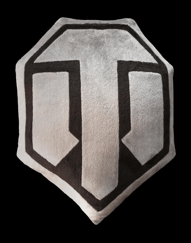 Декоративная подушка «Логотип WoT» плюшевая семиугольная серо-чёрная