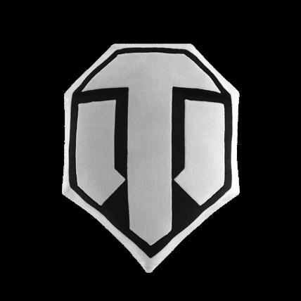 Подушка плюшевая «Логотип World of Tanks», чёрно-белая